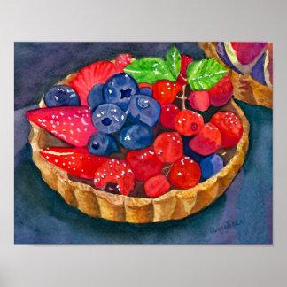 French Fruit Tart, La Tarte Aux Fruits Watercolor Poster