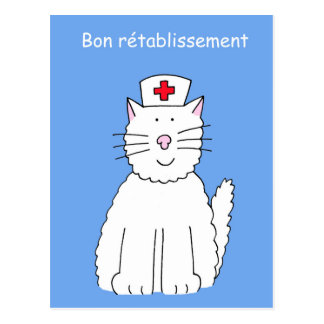 French get well soon cat, Bon rétablissement. Postcard