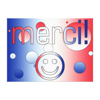 French Gifts Thank You Merci + Smiley Face Canvas Print
