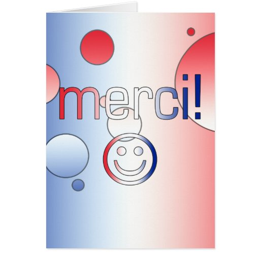 French Gifts : Thank You / Merci + Smiley Face Greeting Cards