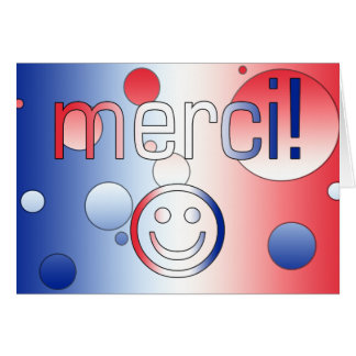 French Gifts : Thank You / Merci + Smiley Face Greeting Card