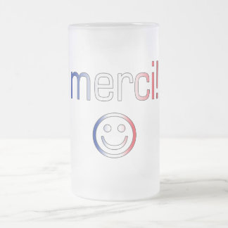French Gifts : Thank You / Merci + Smiley Face Frosted Glass Mug