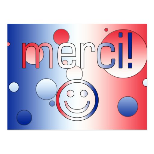 French Gifts : Thank You / Merci + Smiley Face Post Cards