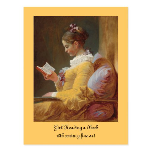 French Girl in Yellow Dress Reading Postcard