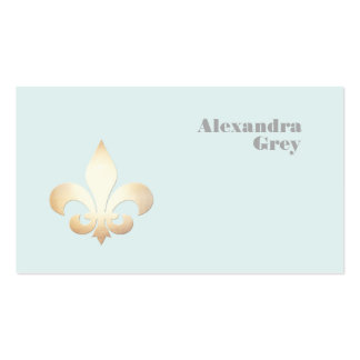 French Gold Leaf Fleur de Lis Light Blue Pack Of Standard Business Cards