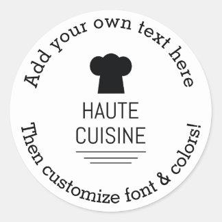French Gourmet Haute Cuisine Round Sticker