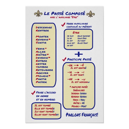 French Grammar Passe Compose Etre Poster Zazzlecomau