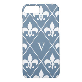 French Gray Fleur de Lis w/ monogram iPhone 8/7 Case