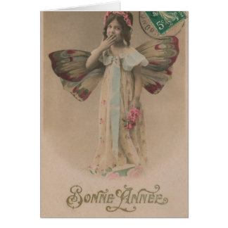 French Happy New Year Fairy Girl Vintage Card