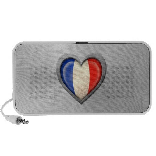French Heart Flag Stainless Steel Effect Speakers