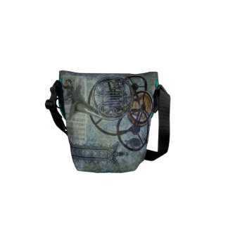 French Horn Aqua Steampunk Scene Messenger Bags