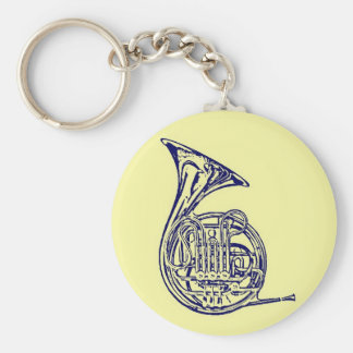 French Horn Basic Round Button Key Ring