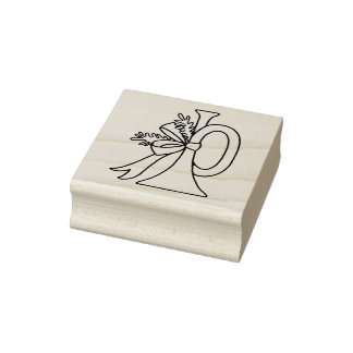 French Horn Christmas Rubber Stamp