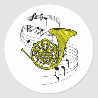 French Horn Classic Round Sticker