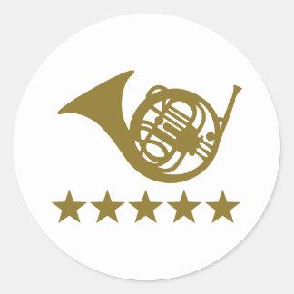 French horn golden stars round sticker