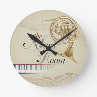 French Horn Music Room Round Clock