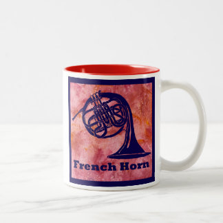 French Horn on Red Two-Tone Coffee Mug