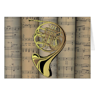 French Horn ~ Rolled Sheet Music Back ~ Musical Card