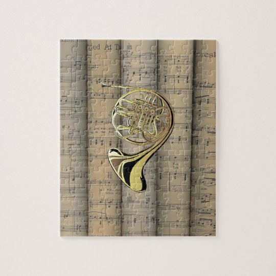 French Horn ~ Rolled Sheet Music Back ~ Musical Jigsaw Puzzle