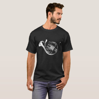 French Horn Silhouette Black T-Shirt