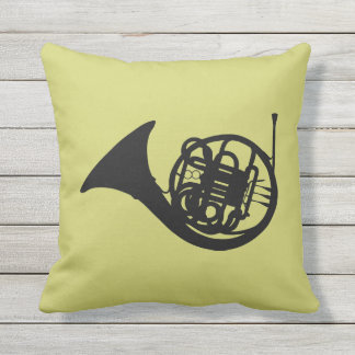 FRENCH HORN SILHOUETTE OUTDOOR CUSHION