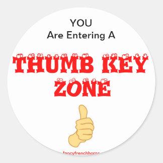 French Horn Thumb Key Alert Classic Round Sticker