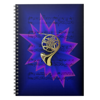French Horn with Nightfall Background Notebook