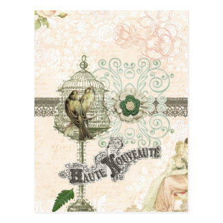 French Inspired Shabby Chic Bird Cage Postcard
