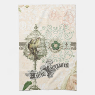 French Inspired Shabby Chic Bird Cage Tea Towel
