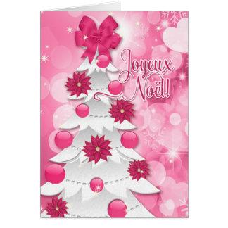 French Joyeux Noël - Pink Poinsettia Christmas Card