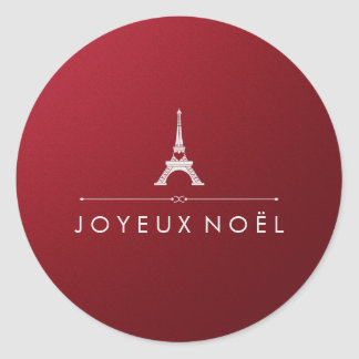 French Joyeux Noel Red and Silver Chic Christmas Classic Round Sticker