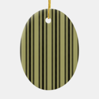 French Khaki Mattress Ticking Black Double Stripe Ceramic Ornament