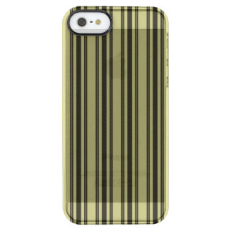 French Khaki Mattress Ticking Black Double Stripe Clear iPhone SE/5/5s Case