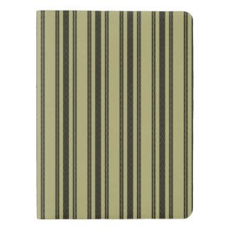 French Khaki Mattress Ticking Black Double Stripe Extra Large Moleskine Notebook