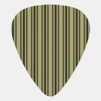 French Khaki Mattress Ticking Black Double Stripe Guitar Pick