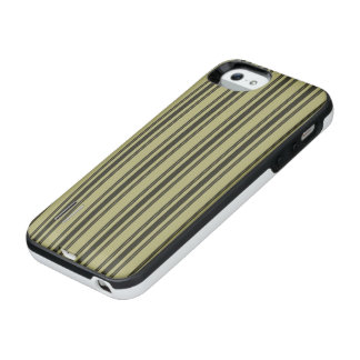 French Khaki Mattress Ticking Black Double Stripe iPhone SE/5/5s Battery Case