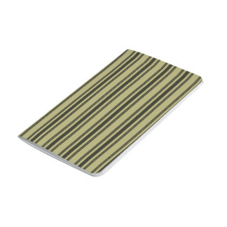 French Khaki Mattress Ticking Black Double Stripe Journal