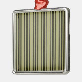 French Khaki Mattress Ticking Black Double Stripe Metal Ornament