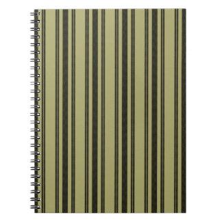 French Khaki Mattress Ticking Black Double Stripe Notebook