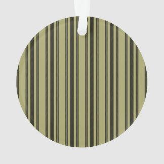 French Khaki Mattress Ticking Black Double Stripe Ornament