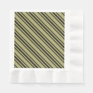 French Khaki Mattress Ticking Black Double Stripe Paper Napkin