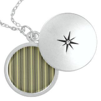 French Khaki Mattress Ticking Black Double Stripe Sterling Silver Necklace