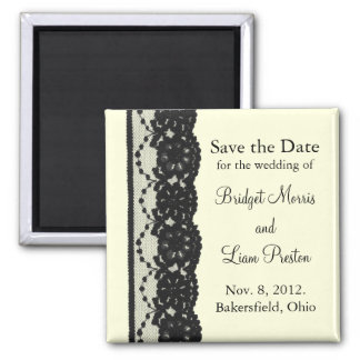 French Lace Save the Date Magnet ivory