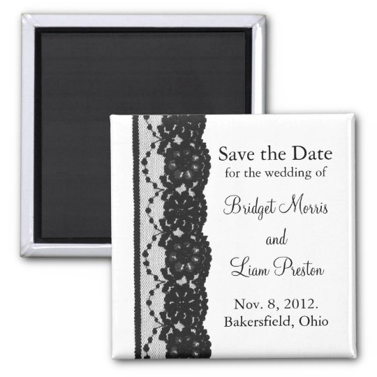French Lace Save the Date Magnet (white)