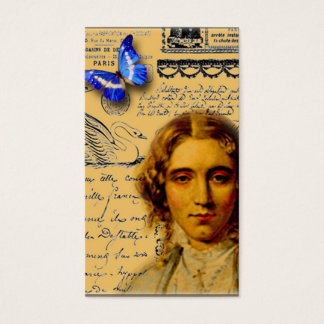 french lady with butterffly store hang tags business card