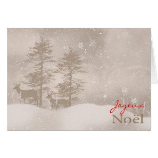French Language Happy Holidays Stylish Christmas Card