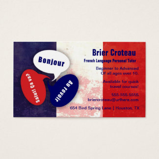French Language Tutor Business Card