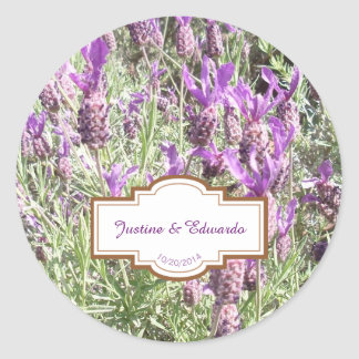 French Lavender Flowers Personalised Wedding Classic Round Sticker