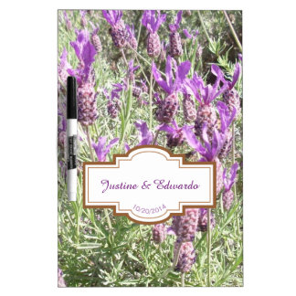 French Lavender Flowers Personalized Wedding Dry Erase Board