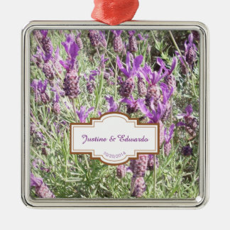 French Lavender Flowers Personalized Wedding Metal Ornament